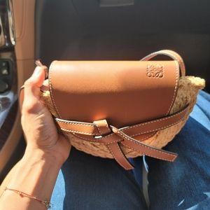 Loewe gate mini leather raffia shoulder bag